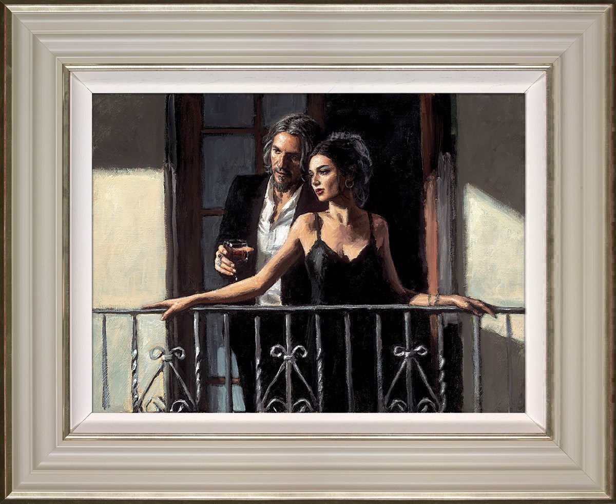 Fabian and Lucy at the Balcony II by Fabian Perez - Canvas on Board sized 24x18 inches. Available from Whitewall Galleries